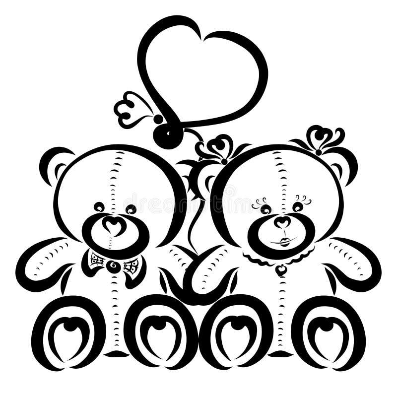 Pares de amor bonitos, urso de peluche e balão coração-dado forma ilustração royalty free