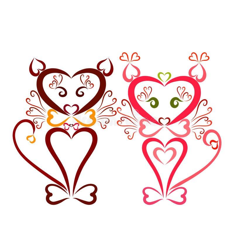 Pares de amor de gatos dos corações e das ondas coloridos ilustração do vetor