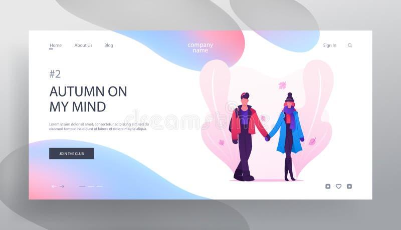 Pares de amor que datam em Autumn Time Website Landing Page, no homem novo e na mulher guardando as mãos andando na rua com folha ilustração stock