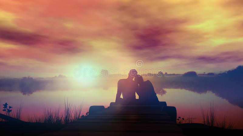 Pares de amor que sentam-se pelo lago no por do sol imagens de stock royalty free