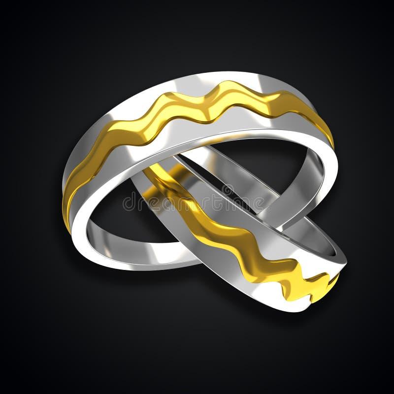 Pares de anéis dourados ilustração stock