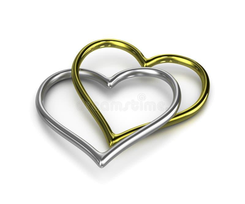 Pares de anéis dourados e de prata dados forma coração acorrentados ilustração royalty free