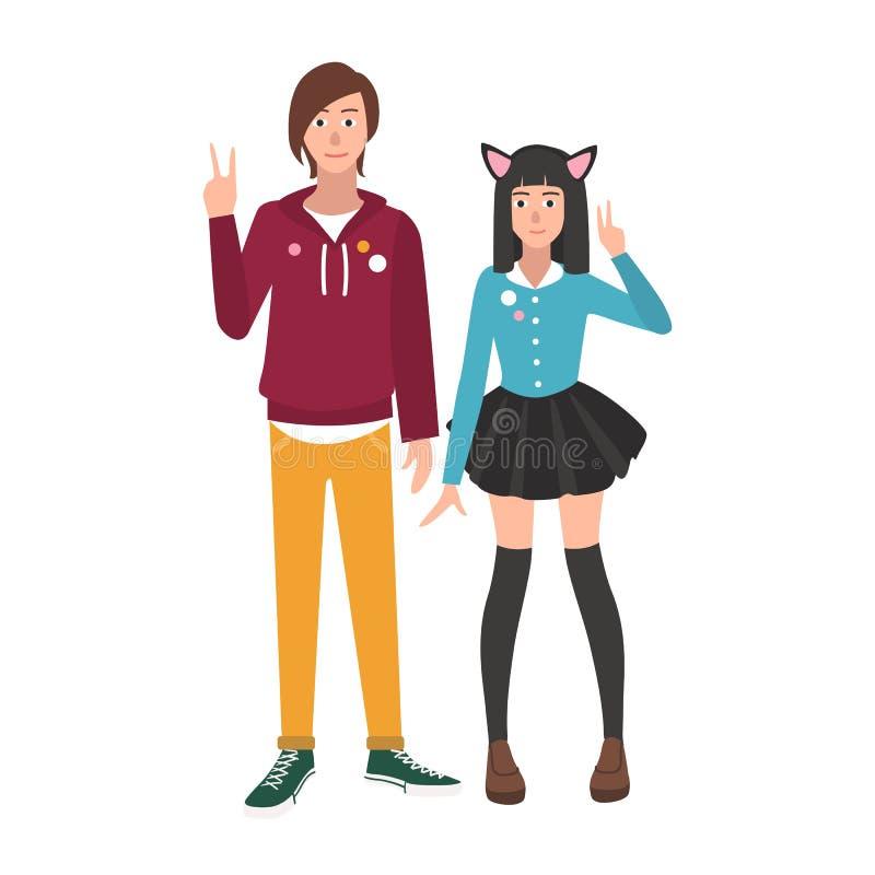 Pares de animado japonés del muchacho y de la muchacha y de fans o de amantes del manga aislados en el fondo blanco Novio y novia stock de ilustración