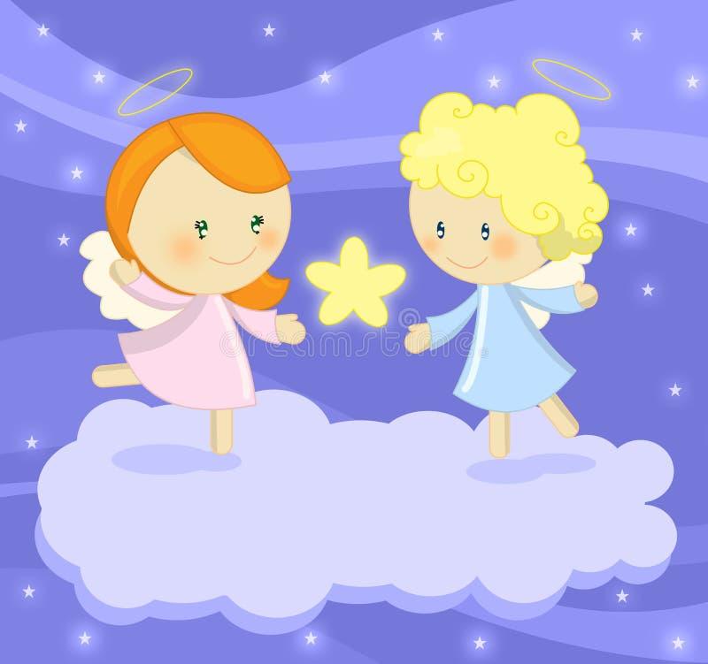 Pares de anjos pequenos bonitos que prendem uma estrela brilhante ilustração do vetor