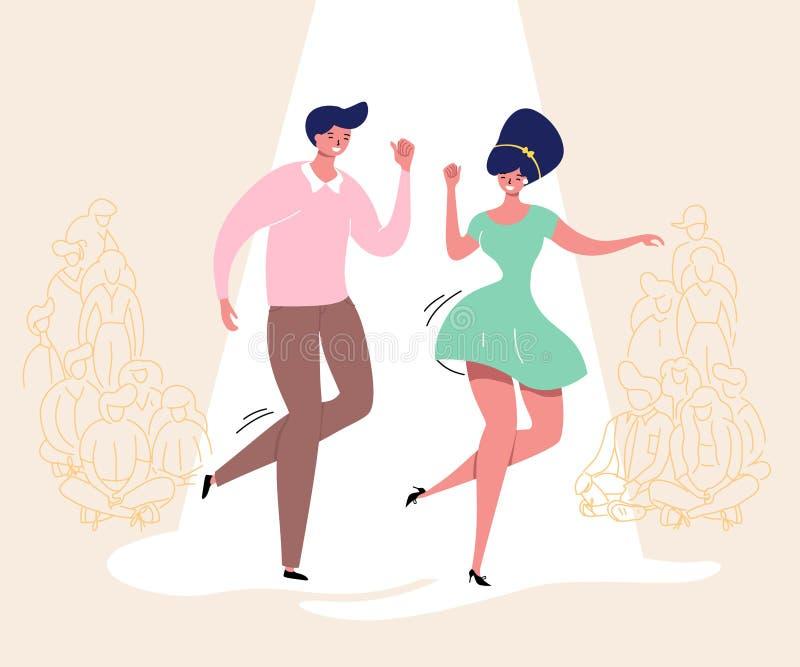 Pares de baile con la audiencia Baile del Rockabilly Los bailarines felices del oscilación de la competencia retra con el ejemplo ilustración del vector