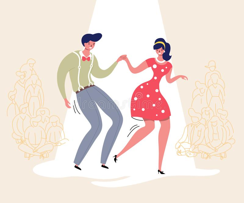 Pares de baile con la audiencia Baile del Rockabilly Los bailarines felices del oscilación con el ejemplo del vector de los espec stock de ilustración