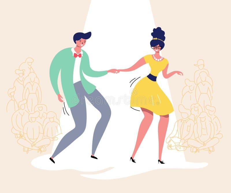 Pares de baile con la audiencia Baile del Rockabilly Los bailarines felices del oscilación con el ejemplo del vector de los espec libre illustration