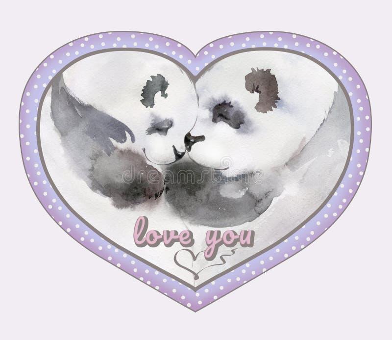 Pares de besar pandas en marco en forma de corazón con la muestra stock de ilustración