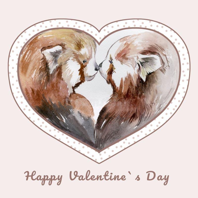 Pares de besar pandas rojas en marco en forma de corazón stock de ilustración