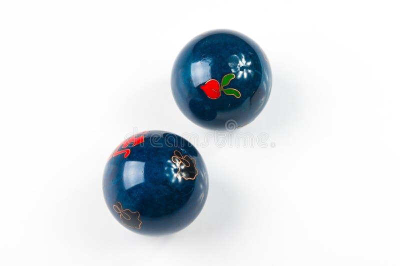 Pares de bolas chinas azules Baoding fotos de archivo