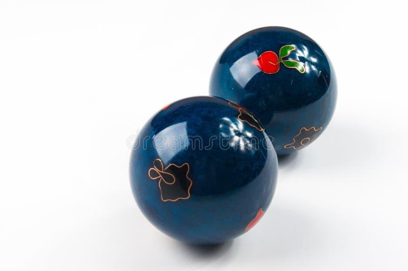 Pares de bolas chinas azules Baoding imagenes de archivo
