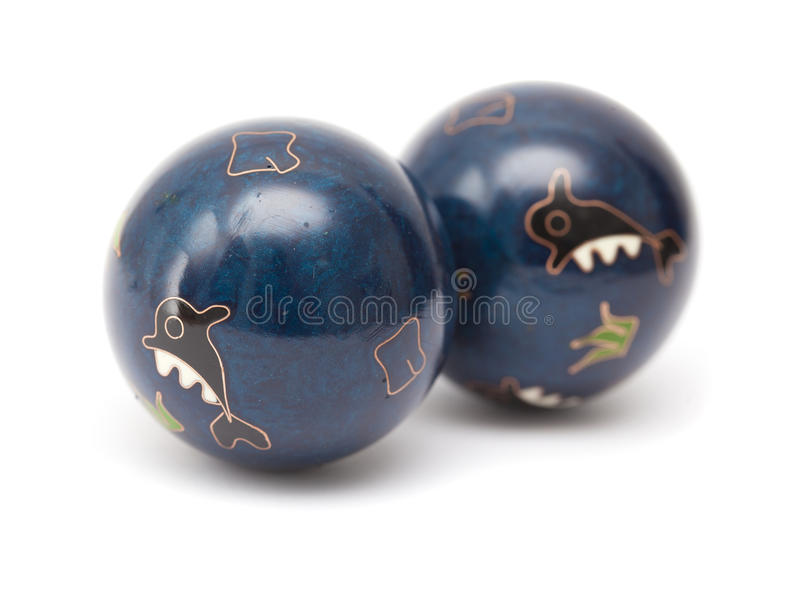 Pares de bolas chinas azules de la meditación imágenes de archivo libres de regalías