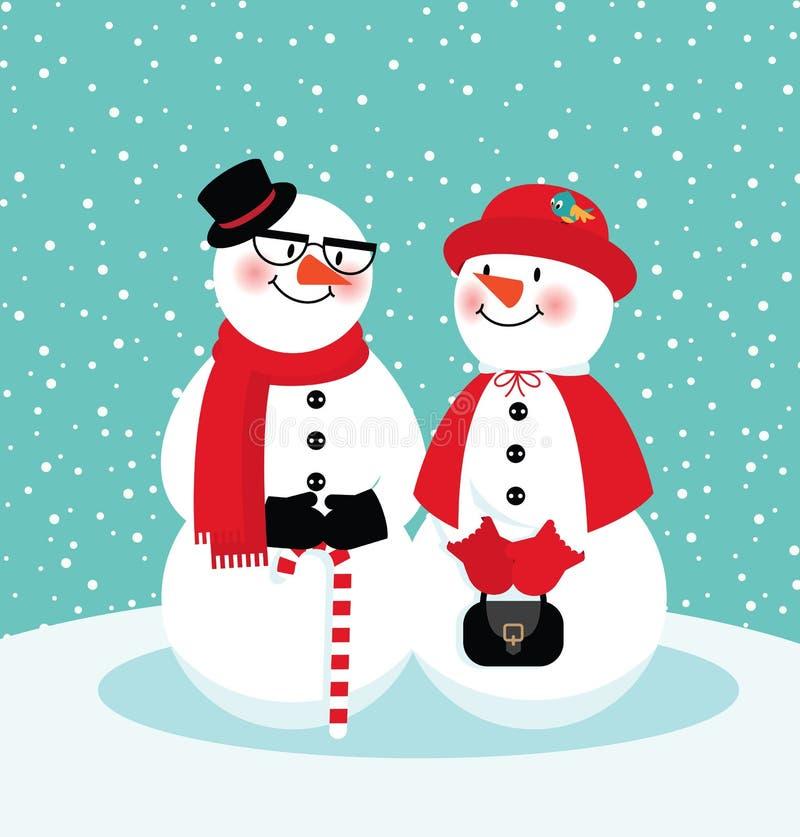 Pares de bonecos de neve ilustração do vetor