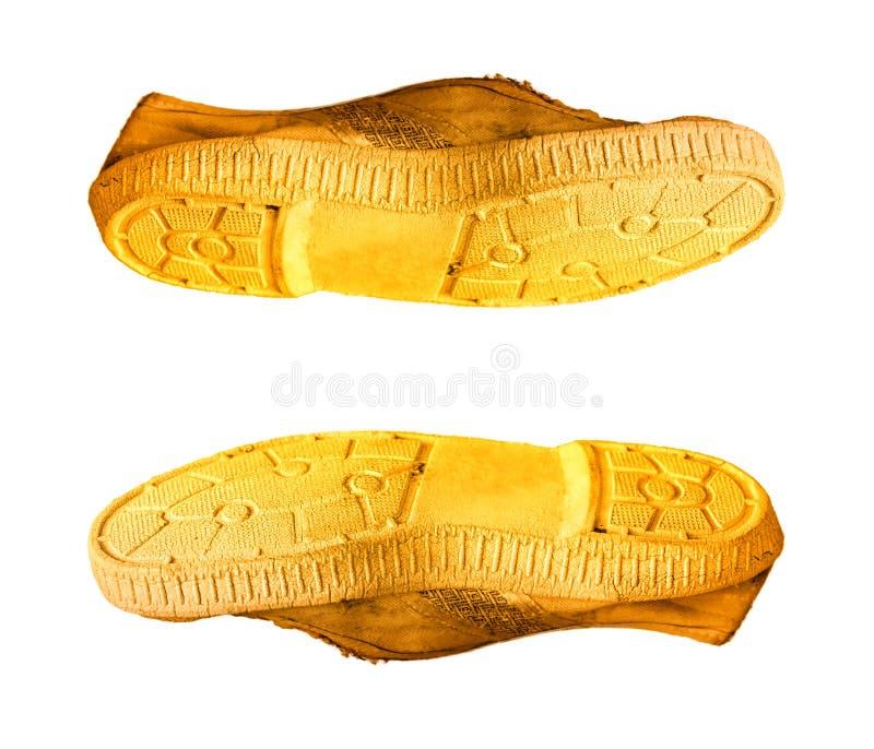 Pares de botas amarelas velhas do 40th tamanho foto de stock royalty free