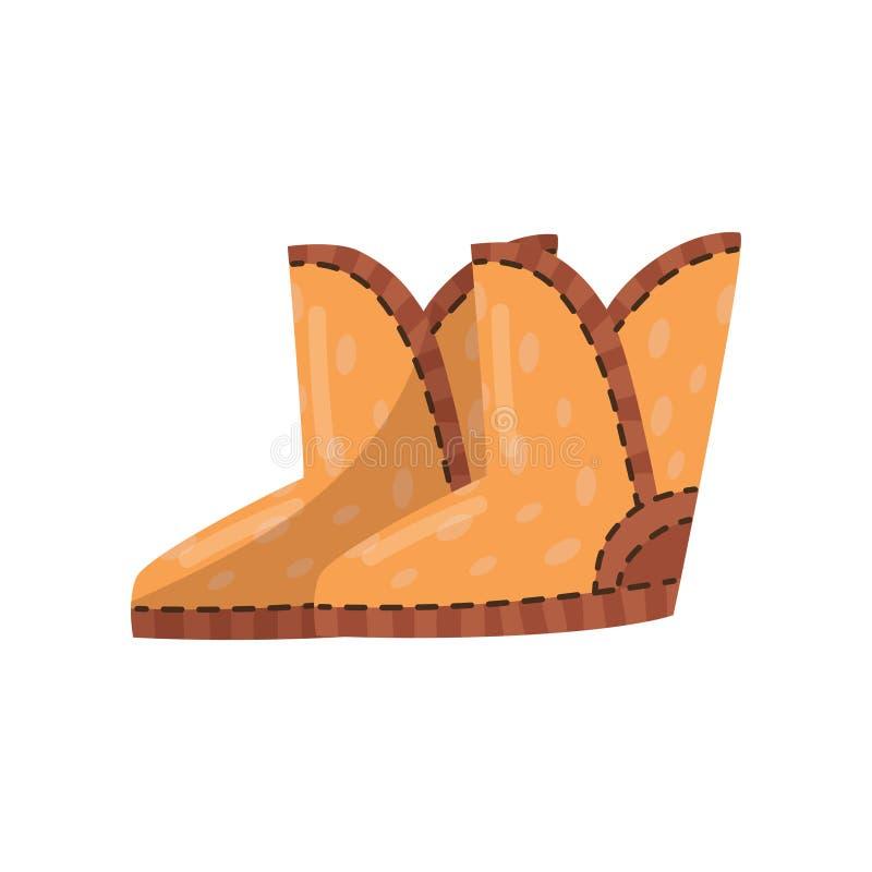Pares de botas marrons bonitos do ugg Sapatas mornas para a estação fria Calçados do inverno Ilustração lisa do vetor ilustração stock