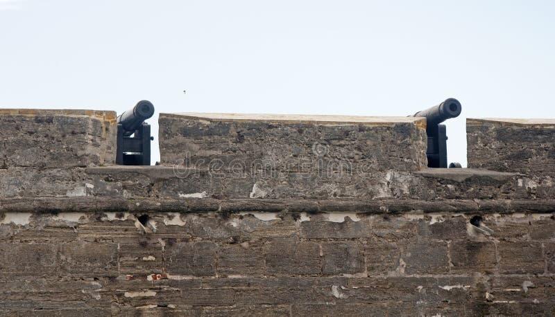 Pares de cânones velhos atrás das paredes do forte fotografia de stock