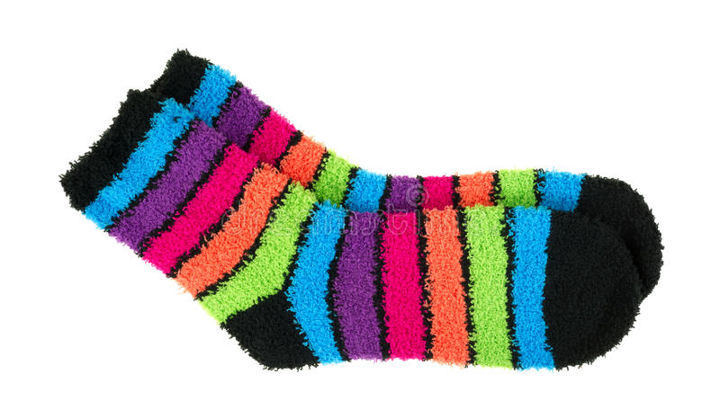 Pares de calcetines gruesos coloridos del paño grueso y suave foto de archivo libre de regalías