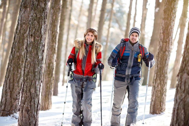 Pares de caminhantes no inverno fotografia de stock