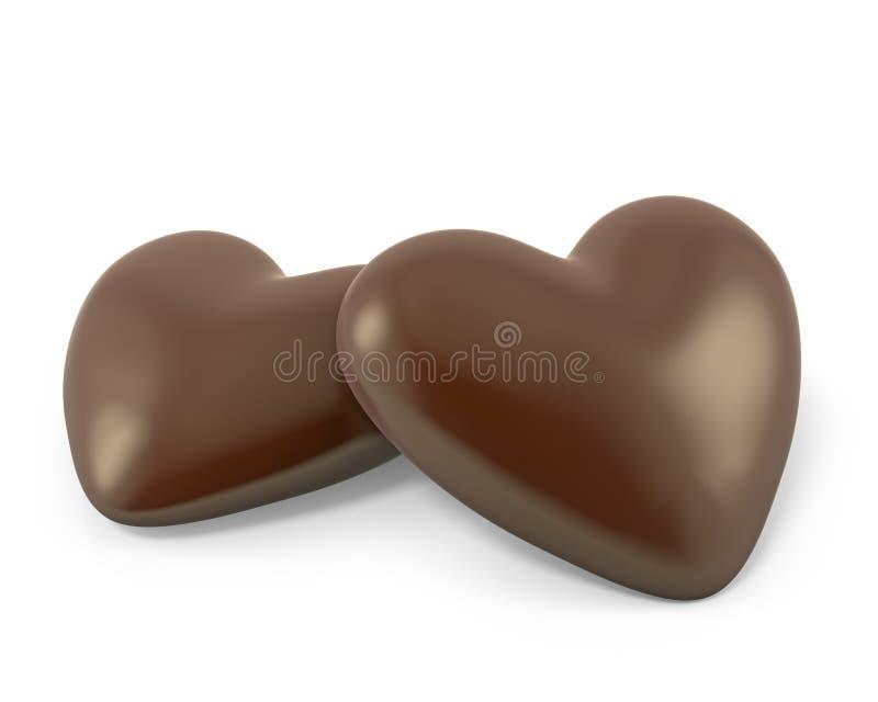 Pares de caramelos de chocolate en forma de corazón libre illustration