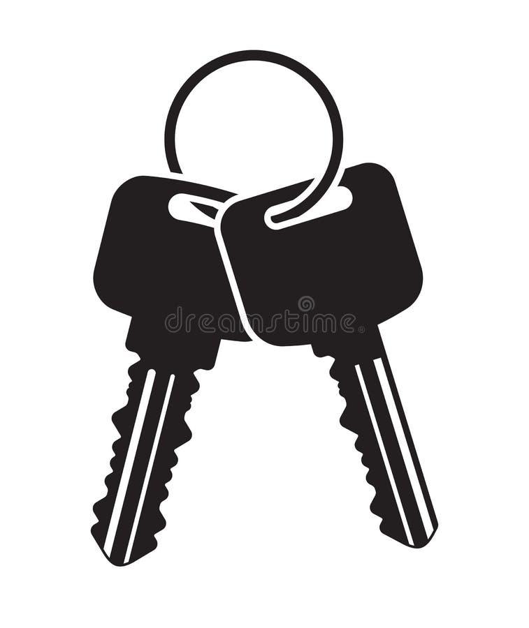 Pares de chaves do vetor com anel Ícone liso preto para seu projeto ilustração stock