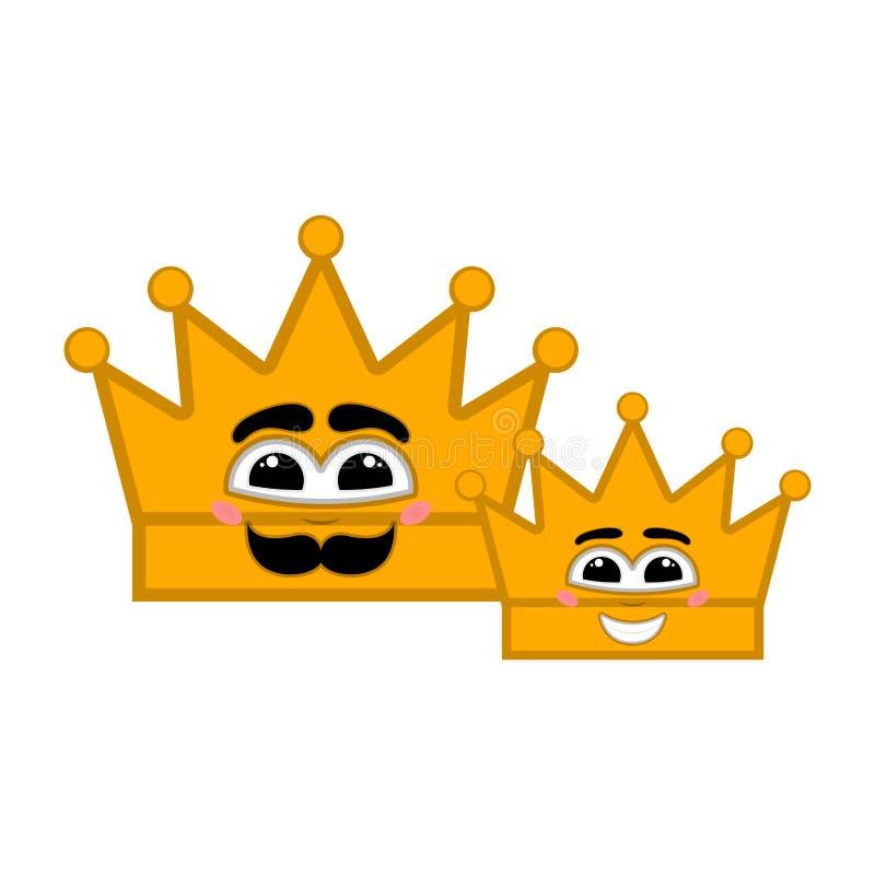 Pares de coronas de oro felices con una sonrisa ilustración del vector