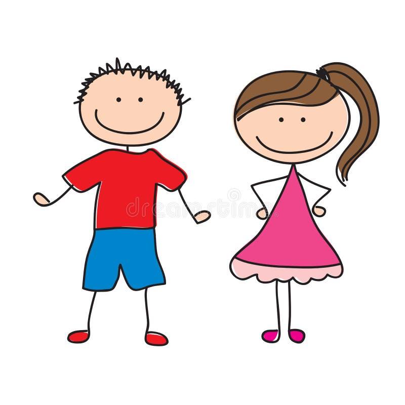 Pares de crianças ilustração royalty free