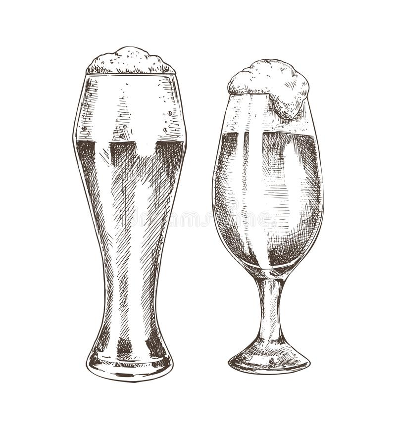 Pares de cubiletes de la cerveza con Ale Graphic Art espumoso ilustración del vector