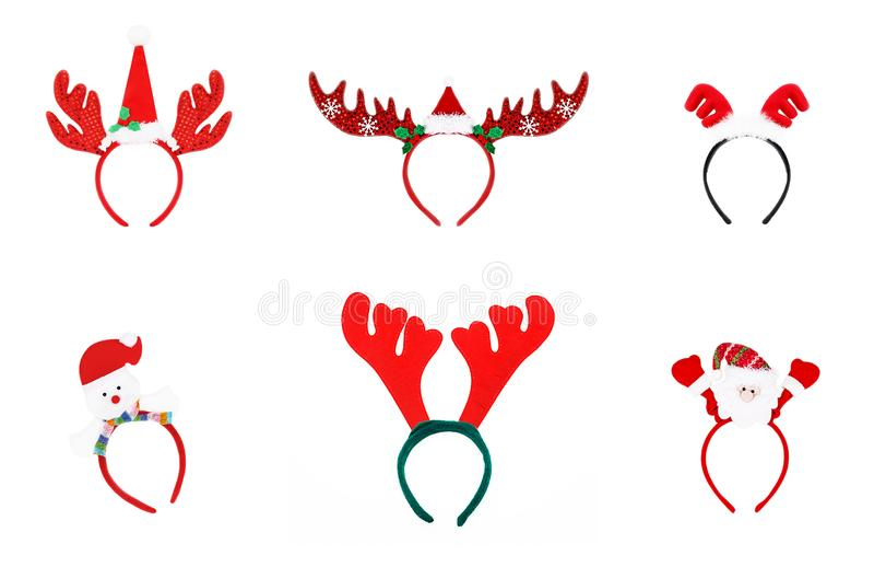 Pares de cuernos del reno del juguete venda de la Navidad aislada en wh fotos de archivo libres de regalías