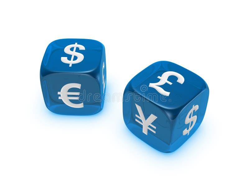 Pares de dados azules translúcidos con la muestra de dinero en circulación fotos de archivo libres de regalías