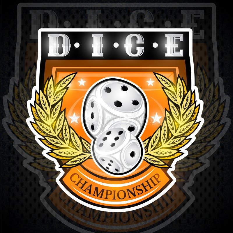 Pares de dados com grinalda dourada no centro do protetor Logotipo do esporte para alguns jogos de azar ou jogos de mesa ilustração royalty free