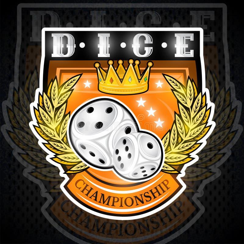 Pares de dados con la corona entre la guirnalda de oro en el centro del escudo Logotipo del deporte para cualquier juegos de azar libre illustration