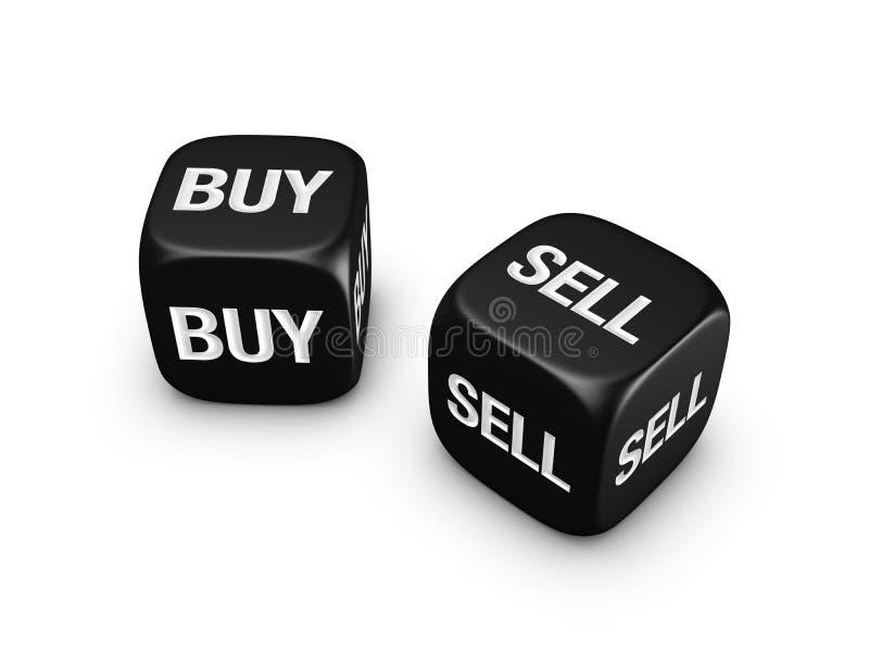 Pares de dados pretos com compra, sinal do sell fotos de stock