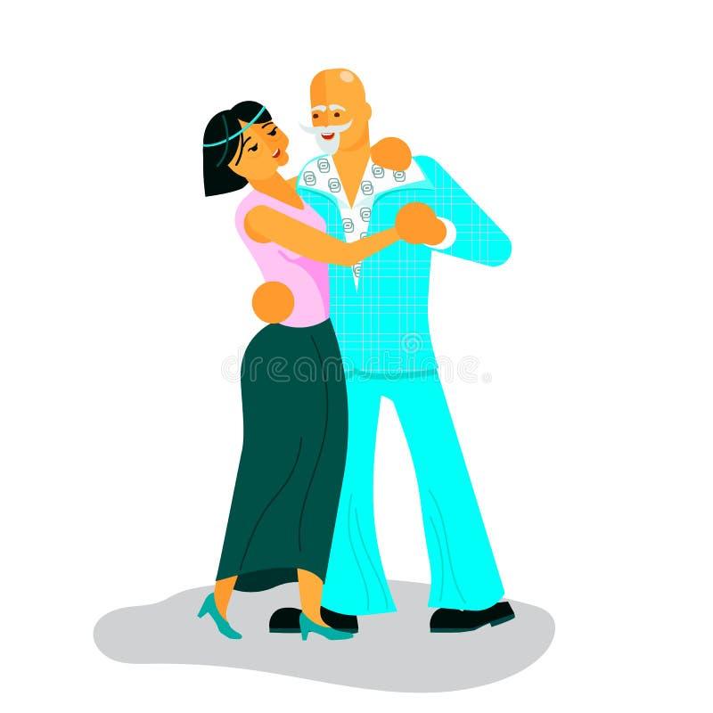 Pares de dança ativa dos sêniores ilustração stock