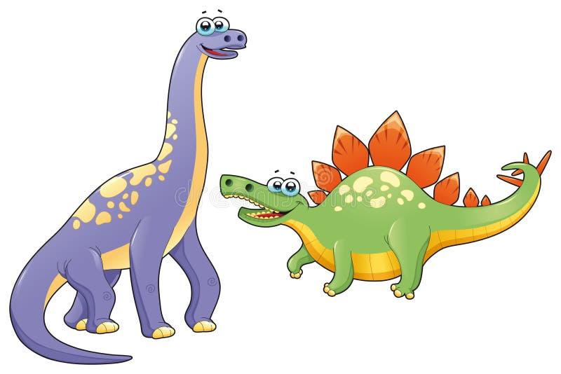 Pares de dinossauros engraçados. ilustração stock
