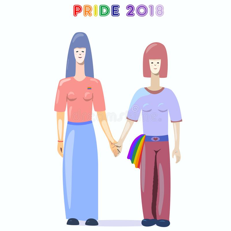 Pares de dos lesbianas - cartel del orgullo gay stock de ilustración