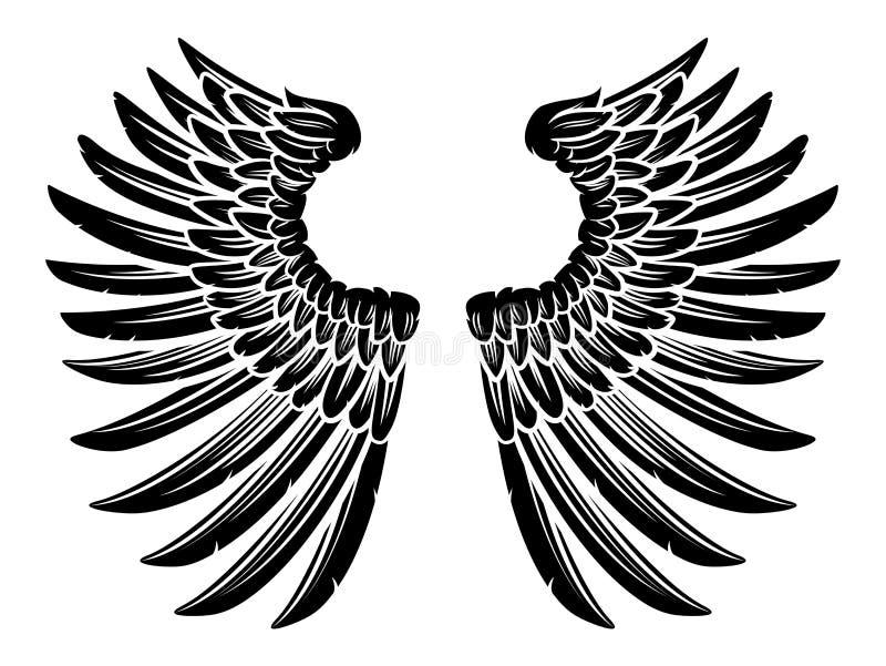 Pares de Eagle Bird ou de Angel Wings ilustração royalty free