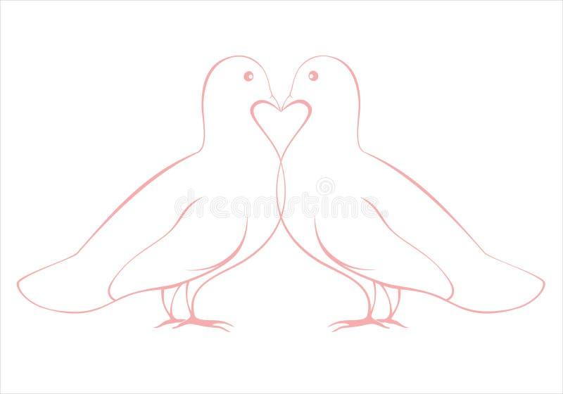 Pares de ejemplo de las palomas del amor, tarjeta de la tarjeta del día de San Valentín ilustración del vector