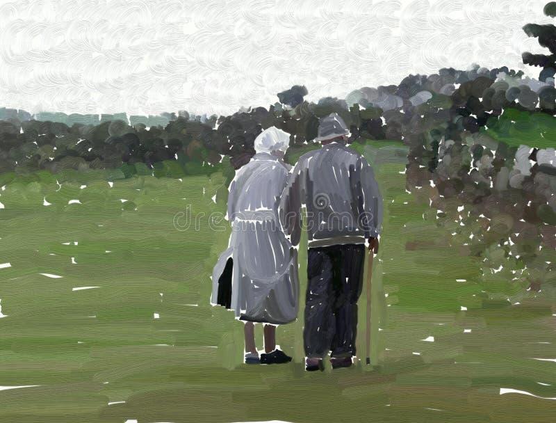 Pares de Eldely ilustração royalty free