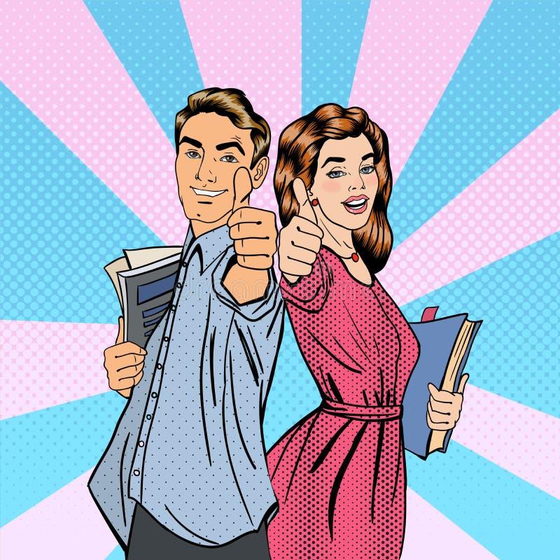 Pares de estudantes Gesticular do homem e da mulher grande ilustração do vetor