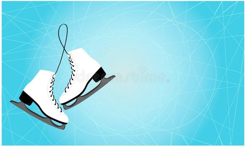 Pares de figura suspensão dos patins de gelo isolada no fundo branco, espaço para o texto ilustração royalty free