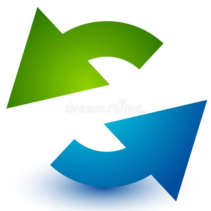 Pares de flechas en círculo Flechas circulares Reciclaje, lazo o CY stock de ilustración