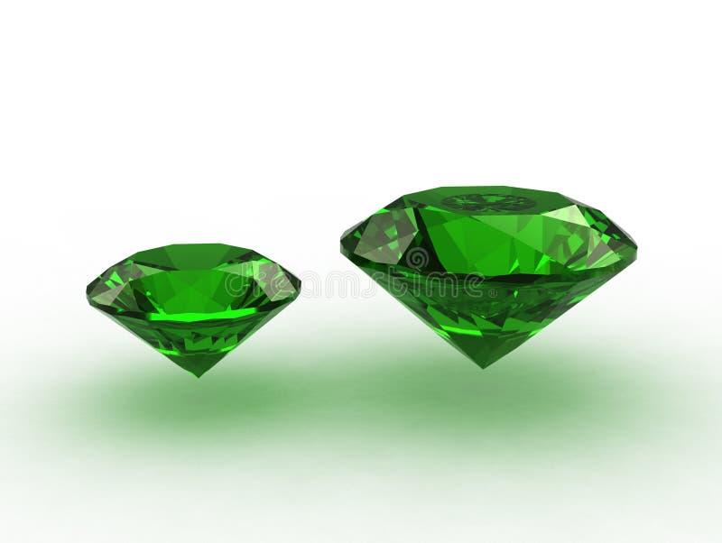 Pares de gemas redondas agradáveis da esmeralda ilustração do vetor