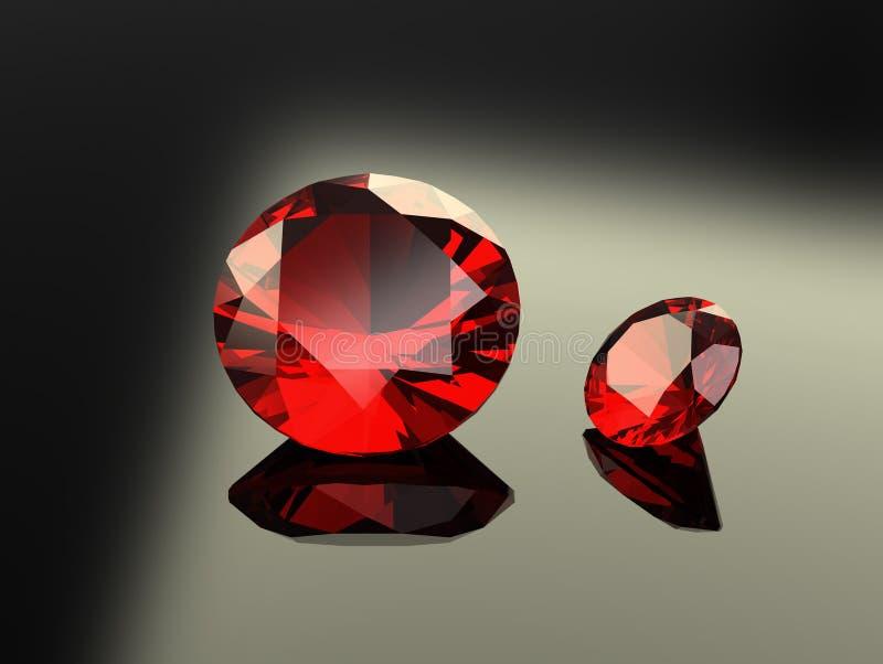 Pares de gemas redondas do rubi ilustração stock