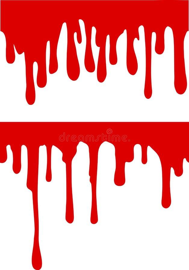 Pares de gotejamentos vermelhos da pintura ou do sangue Ilustração do vetor para seu d ilustração stock