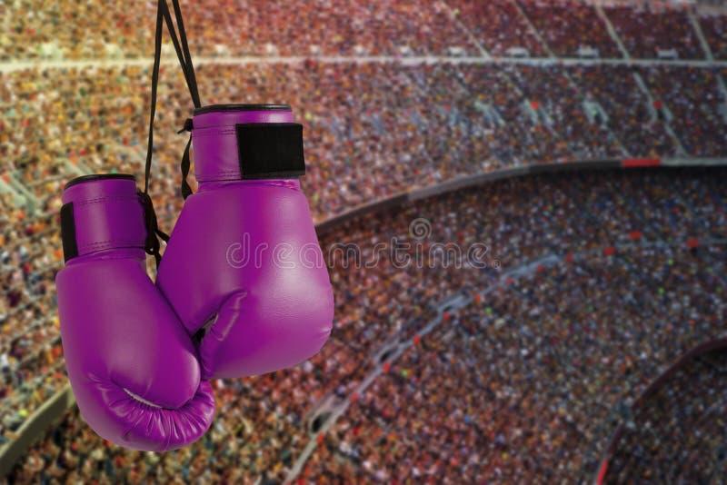 Pares de guantes de boxeo púrpuras fotografía de archivo