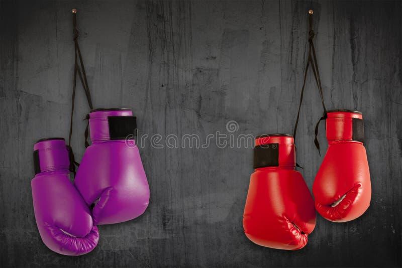 Pares de guantes de boxeo púrpuras fotos de archivo