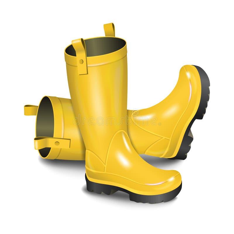 Pares de gumboots Botas amarelas da chuva isoladas no fundo branco ilustração stock