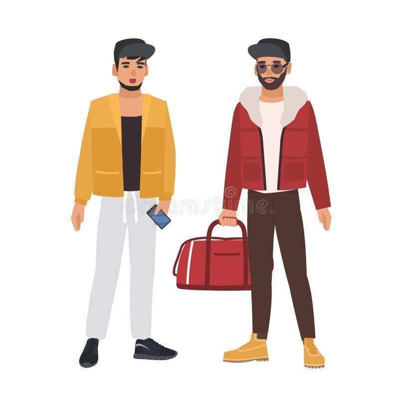 Pares de hombres caucásicos que llevan la ropa informal y los casquillos, sosteniendo el teléfono y el bolso, hablando el uno al  ilustración del vector