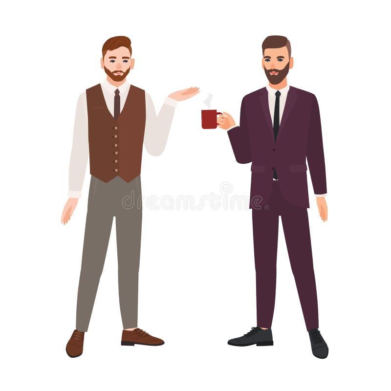 Pares de homens farpados vestidos na roupa do negócio ou nos trabalhadores de escritório masculinos que falam e que bebem o café  ilustração royalty free