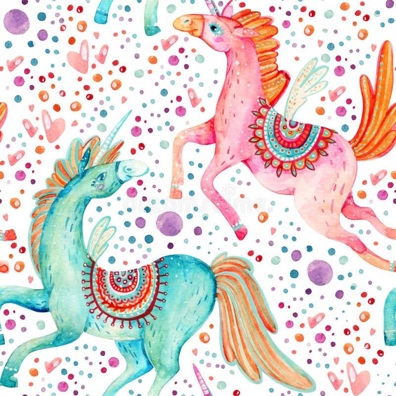 Pares de la acuarela de modelo inconsútil de los unicornios del vuelo en fondo con las burbujas y los corazones libre illustration